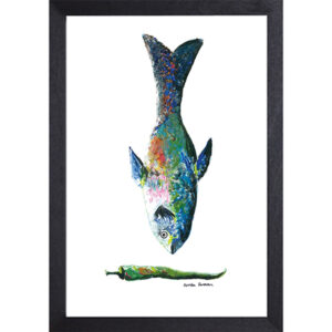 Catchii poster wit blue fish