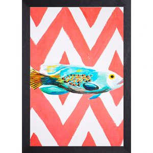 Catchii poster rood-wit Fish Ikat