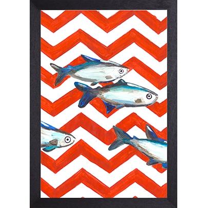Catchii poster rood-wit Fish Zigzag