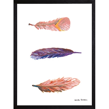 Catchii poster wit swirling feathers