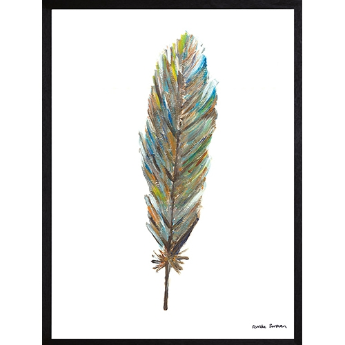 poster blauwgrijs feather