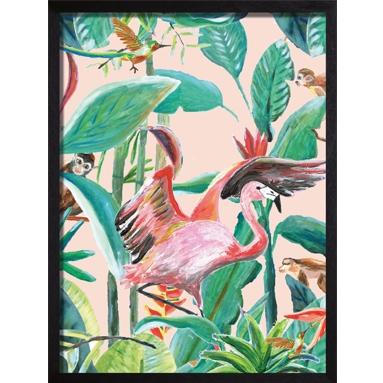 poster roze groen flamingo