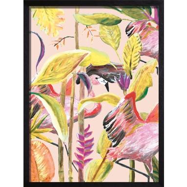 poster geel flamingo