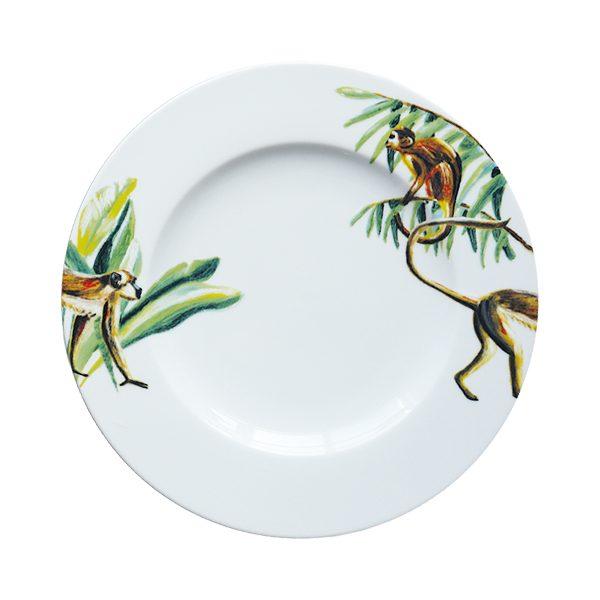 Ontbijtbord met aapjes en jungle blaadjes
