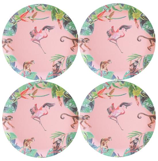 roze bamboe borden flamingo