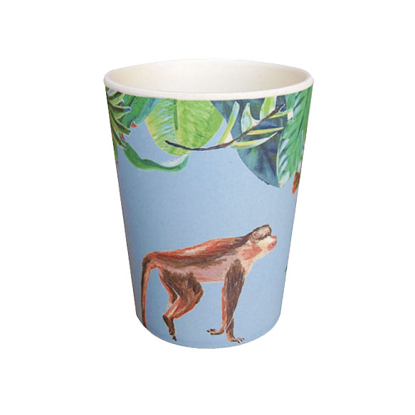 Catchii blauwe bamboe beker met aapje