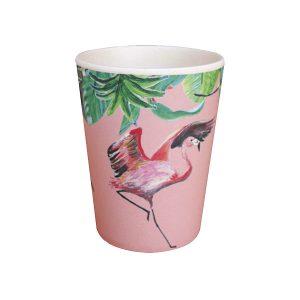 Roze bamboe beker met flamingo en jungle blaadjes dessin