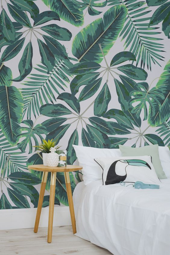 groen jungle behang slaapkamer