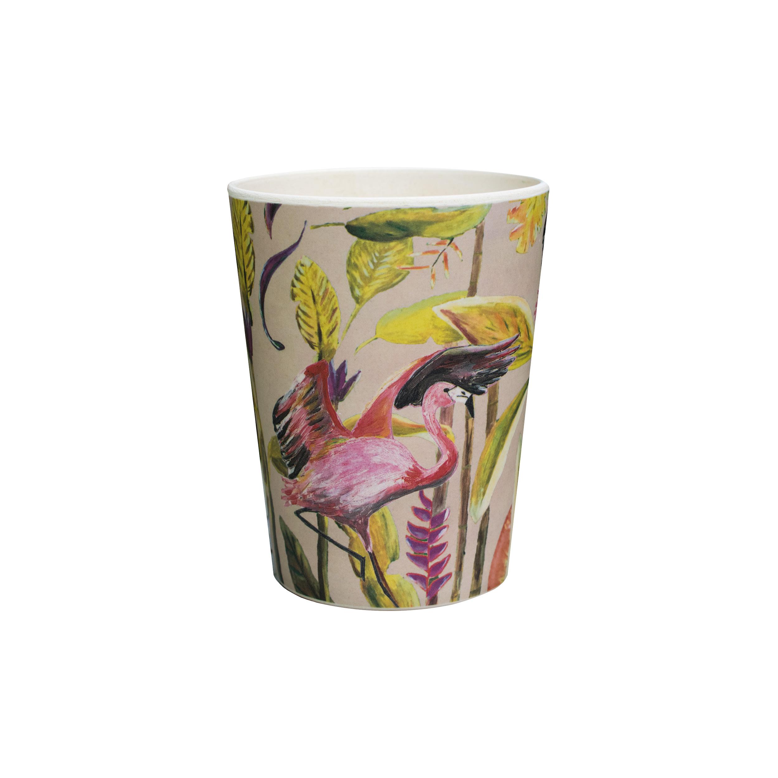 bamboe beker flamingo