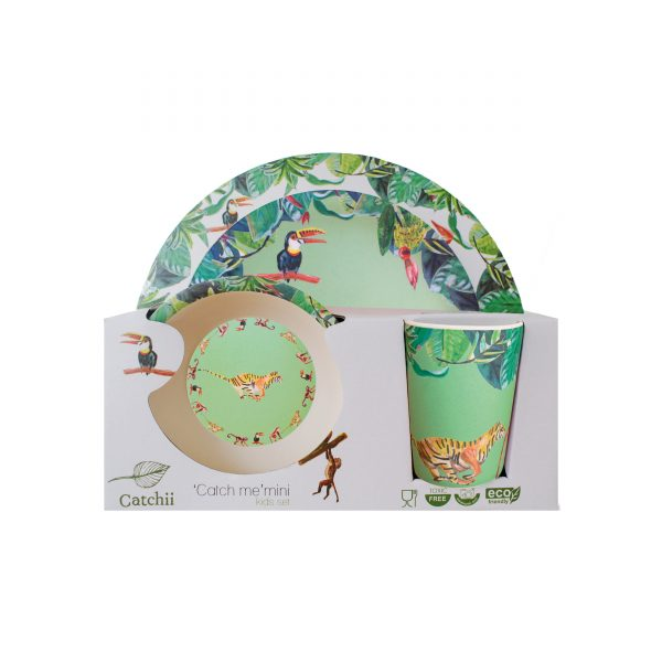 Catchii bamboe kinder servies set panter groen