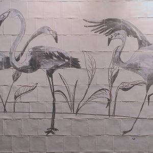 Catchii tiletableau tile tableau tegeltableau art tiles flamingo