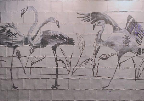 Catchii tiletableau tile tableau tegeltableau art tiles flamingo