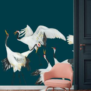 Catchii behang kraanvogels blauw Japanese Crane Dance blauw
