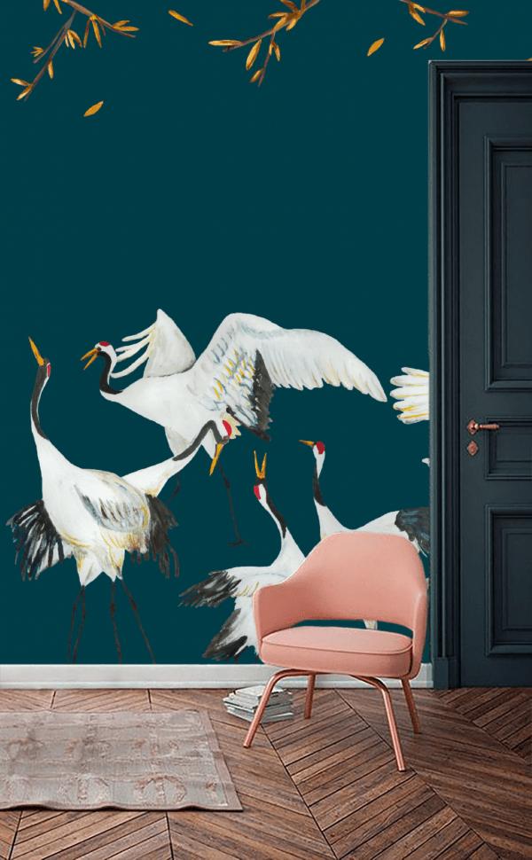 Wallpaper blue Japanese Crane Dance