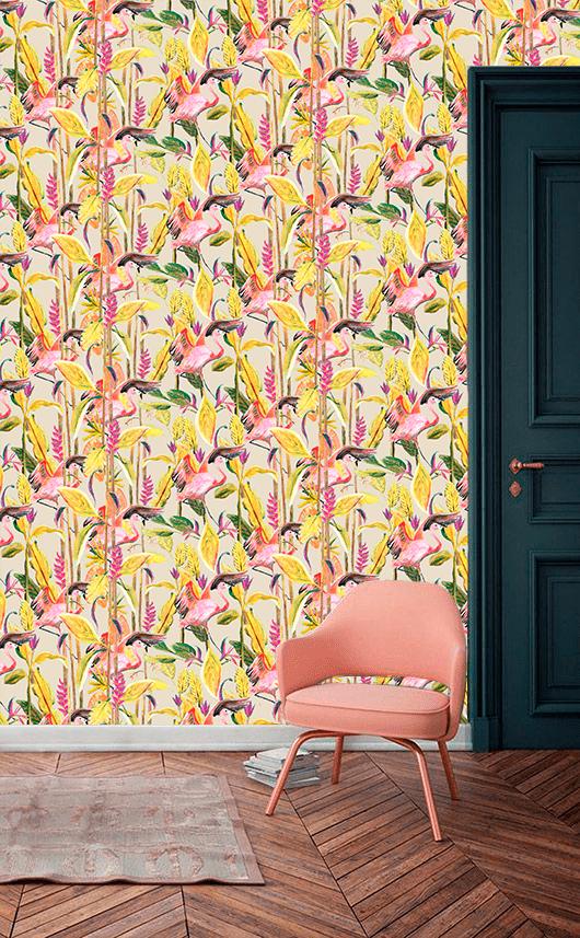 Behang Wild Jungle Stories Flamingo