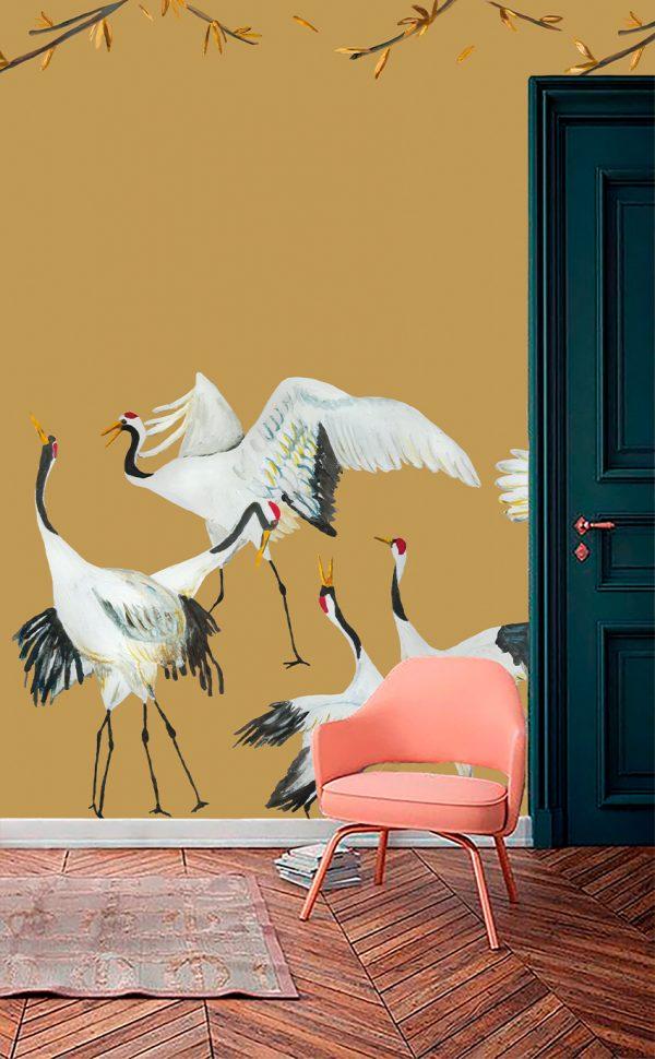 Wallpaper ocher yellow Japanese Crane Dance