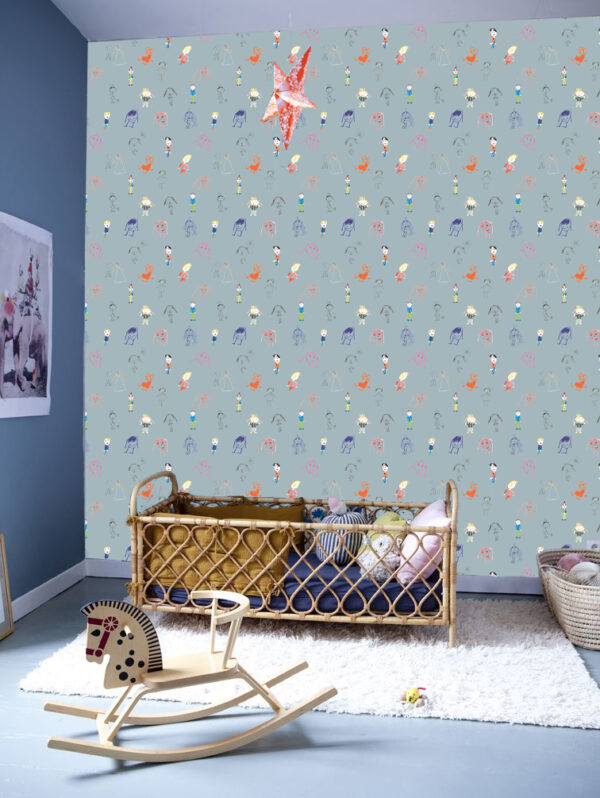 catchii behang babykamer kinderkamer poppetjes kids drawing