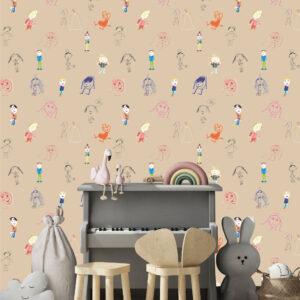 Behang poppetjes 'Felice & Ghislaine'