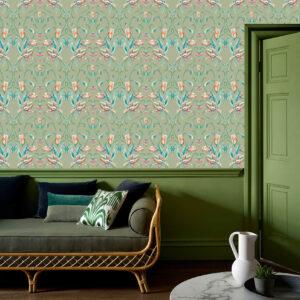 Behang Art Nouveau Franse Tulp