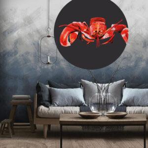 Behangcirkel kreeft blauwe woonkamer catchii homeware 140 cm doorsnede