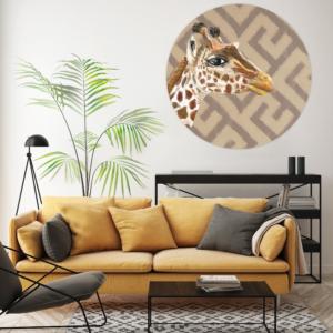 Giraffe behangcirkel wit geel interieur
