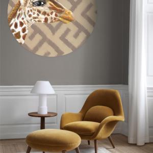 wallpaper circle giraffe interior grey